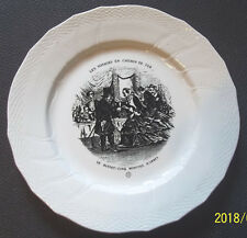 """Assiette Ancienne """"Les voyages en chemin de fer N° 5 """"  BOCH La LOUVIERE BELGIUM"""
