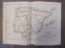 LOUISE DE MORNAND CARTE MANUSCRITE DE L'ESPAGNE 1844 espana