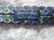 Diseñador Hilditch & Key Gris, Azul Y Verde Lima Corbata seda con patrón de diamante