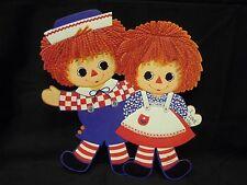 "Vintage Hallmark Valentines Raggedy Ann & Andy Die Cut Wall Hanging, 10"" Tall"