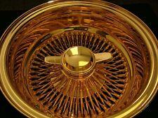 "NEW 13X7 REVERSE ""DEEP DISH"" WIRE SPOKE WHEELS LOWRIDER ALL GOLD US 24k SET OF 4"