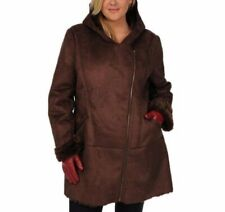 EXCELLED® Plus Size 1X Brown Faux Shearling Asymmetrical Hooded Coat NWT $280