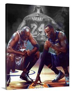 LeBron James Jordan Kobe Canvas 16X20 Wall Art Picture Mancave Honoring Kobe.
