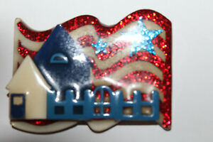 """Lucinda 4TH Of July House Pin Red White Blue 2 1/4""""X 1 3/4"""""""