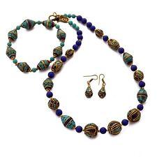"Turquoise Lapis Coral 19"" Necklace Jewelry Set Nepal Wholesale Lot 12pcs NC01"