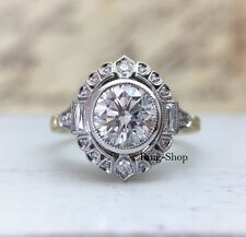 3Ct Round Brilliant Cut Moissanite Art Deco Engagement Ring 925 Sterling Silver