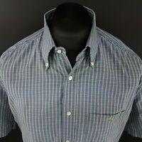 Lacoste Mens Vintage Shirt 43 (LARGE) Short Sleeve Blue Regular Fit Check Cotton