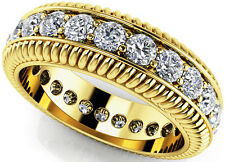 1.51 carat Round Diamond Ring Eternity Band Size 6.5, 14k Yellow Gold, F-G