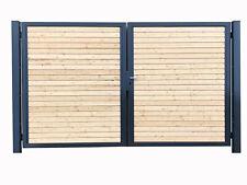 Einfahrtstor Verzinkt Garten Holz-Tor quer Asymmetrisch 2-Flügeltor 300cmx180cm