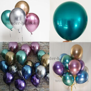 "12"" 10"" 100CHROME BALLOONS METALLIC LATEX PEARL Helium Baloon Birthday Party"