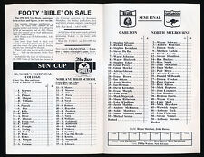 1990 Fosters Cup Carlton v North Melbourne Semi Final Football Record Roos won