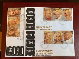 MONTSERRAT 1995 FDC x 3 MARILYN MONROE FILM STAR