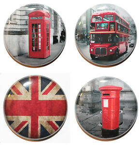 """1"""" (25mm) Set of 4 London Inspired Button Badge Pins - MADE IN UK"""