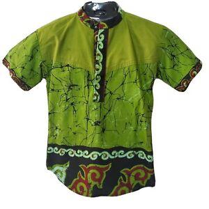 African Green Dashiki w/ Black and Maroon Designing