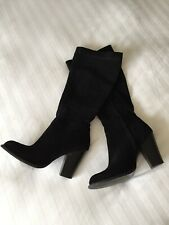 Zara Basic Black Suede Leather Knee High Side Zipped Boots Size 39 Heels