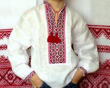 Ukrainian HAND Embroidered kid boy VYSHYVANKA LINEN white SHIRT red black 6T