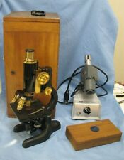 Bausch & Lomb Brass & Iron Microscope in box w/ extras c. 1915