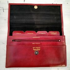 Red Leather Travel Case Wallet Purse Organiser Document Vintage