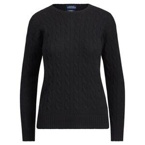 Polo Ralph Lauren Womens Cashmere Jumper Sweater Cable Knit Black kw28 MEDIUM M