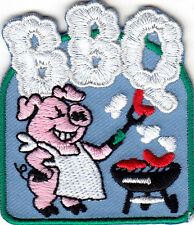 """""""BBQ"""" - BARBECUE - FOOD - OUTDOOR COOKING - GRILLING - IRON ON EMBROIDERED PATCH"""