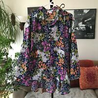 NORTHSTYLE sz L Navy Blue Wildflowers Print Hi-Lo Flared A-Line Top Blouse