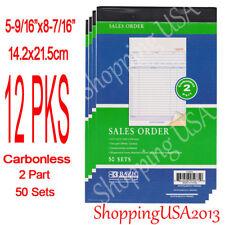 12 X Sales Order Book Receipt Invoice Form 50 Set 2 Parts Duplicate Carbonless