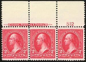 #279b 2c Red 1899  VF *MNH* Imprint Plate #512 Strip of 3 Reversed Watermark