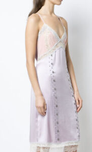 COACH Womens Dress Size 0 Lilac Silk Satin Lace Rivets Slip Sleeveless Midi $895