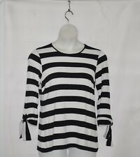 Joan Rivers Striped Tee with Tie Detail Size 1X Black
