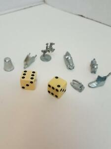 Monopoly Dice & Tokens Replacement Parts 1961 Dog Thimble Iron Shoe Horse Car