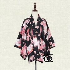 Women Girls Japanese Yukata Haori Kimono Cat Sakura Blossom Coat Outerwear Tops