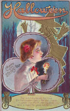 VINTAGE HALLOWEEN POSTCARD~M L JACKSON~CHARMS OF THE WITCHING HOUR~USED POSTED