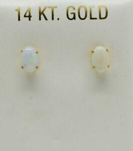 GENUINE 0.70 Cts OPAL STUD EARRINGS 14k GOLD ** Free Appraisal Service **