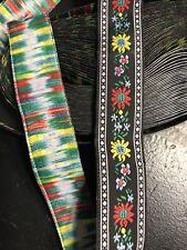 10 yds Awesome Jacquard Ribbon Floral Design Black / Multi 7/8� Wide 10 Yards