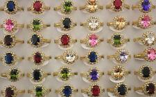 New Fashion Wholesale Lots 50pcs Gold P Cubic Zirconia Lady Engagement Rings