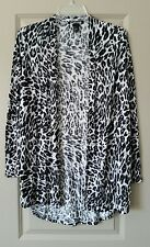H&M Animal Print Open Front Cardigan Ivory, Gray, & Black Size S