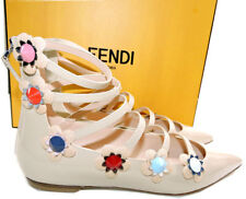 Fendi Flowerland Pointy Toe Flats Ballet Shoes 36.5 Nude Pumps Gladiator Beige
