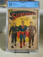 Superman #12 (1941) CBCS 1.5 Rare Military Cover. Lex Luthor Appearance. CGC