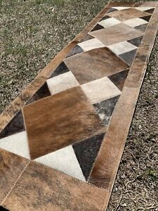 COWHIDE TABLE RUNNER PATCHWORK CARPET AREA RUG LEATHER -