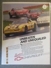 "1988 Corvette Color Advertisement Original ""Unbeaten And Unequaled"""