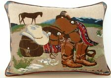 Cowboy's Tack & Horse - Saddle, Boots w/ Southwestern Border Tapestry Pillow New