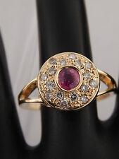 1.13 tcw AGL Certified Designer Pink Sapphire Halo Diamond G/SI Ring 18k YG