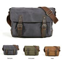 Men's Vintage Canvas Leather Camera Bag Shoulder Messenger for Canon SLR DSLR