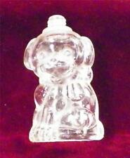 Vintage Puppy Dog Figural Perfume Bottle Pressed Glass No Lid Clear Cologne