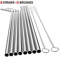 Stainless Steel Straws - Reusable Metal Straw - (10 pack)