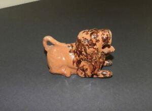 Antique Redware Lion Folk Art Figure