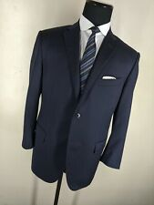 Corneliani Solid Blue 100% Wool Suit 2 Btn Side Vents Flat Front Pants 44 Short