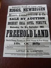 Riggs Newbiggin Historic Poster rare survivor poor condition 1903