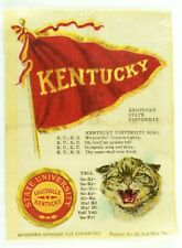 C.1910 Kentucky University College Mascot Cheer Tobacco Silk Vintage Original