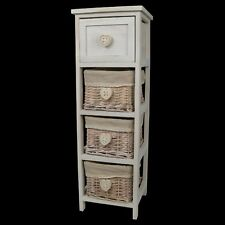 Chest of Drawers Storage Unit Table 3 Baskets Shabby Chic White Buy 2 Save 10